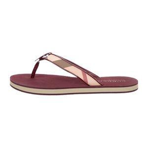 Burberry Nova Check Thong Sandals In Burgundy 6